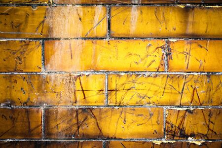 abstract background old creamy orange dirty tiles Stockfoto
