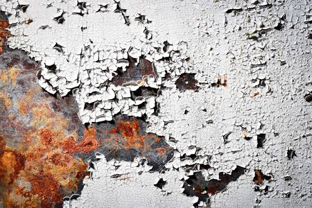 background or texture old peeled white paint on rusty iron plate 写真素材