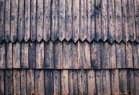 background or texture wall of old wooden shingles