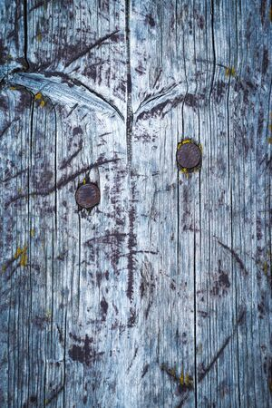 abstract background or texture detail of old wooden board with nails
