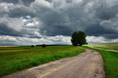 seasonal background landscape with gray heavy clouds and meadow Фото со стока