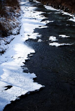 nature background Detail of a nearly frozen long river 写真素材