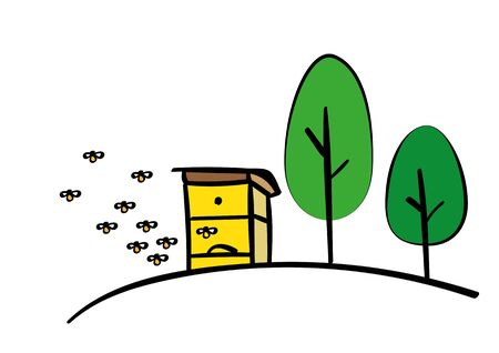 background illustrated beehive with bees and trees 写真素材