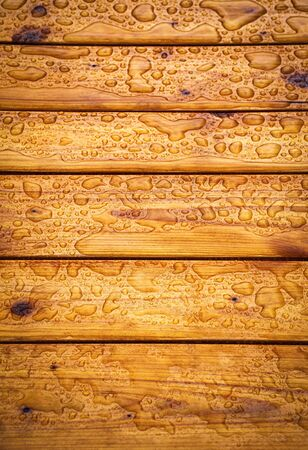 background or texture wooden table top with water drops