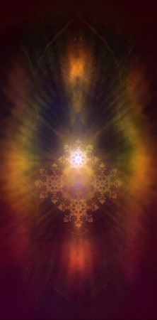 awaken: A beautiful fractal ornament radiating white light and colorful auric lights
