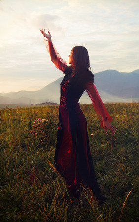 enchanting: A beautiful fairy girl in a historical costume with long transparent sleeves standing amids a wild meadow landscape