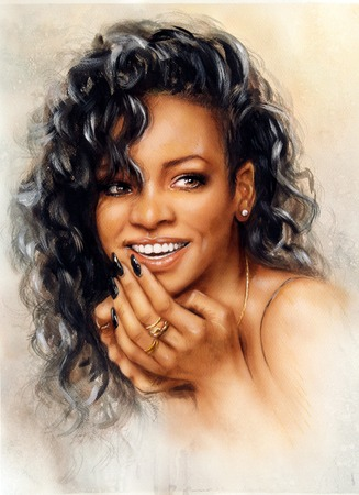women subtle: A beautiful airbrush portrait of Rihanna with red hair and a face close up, with her hand touching her ear in a subtle gesture