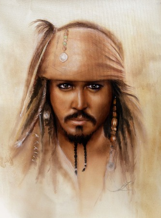 A beautiful close up portrait of Jack Sparrow in airbrush