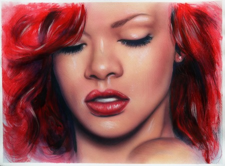 A beautiful airbrush portrait of Rihanna with red hair and a face close up