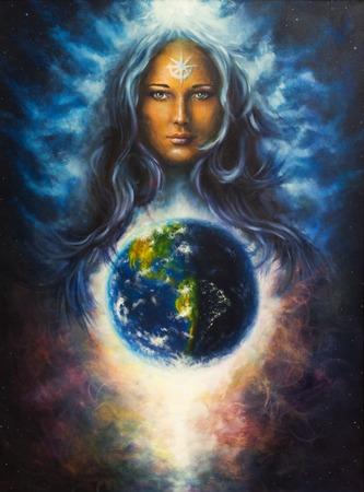 땅에 강력한 사랑의 보호자와 보호 정신으로 여자의 여신 라다의 캔버스에 아름다운 유화