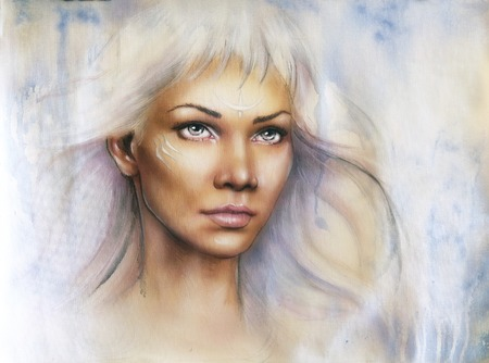 enchanting: A beautiful airbrush portrait of a young enchanting woman warrior with white shiny hair and a direct look Stock Photo