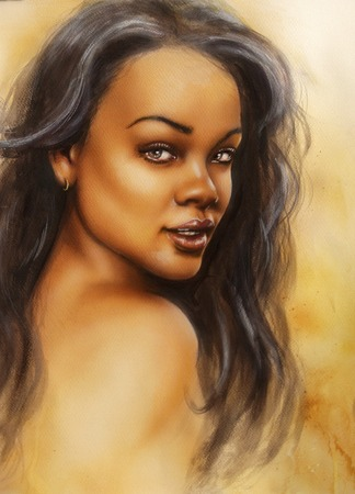A beautiful airbrush portrait of a young enchanting black woman face with long dark hair photo