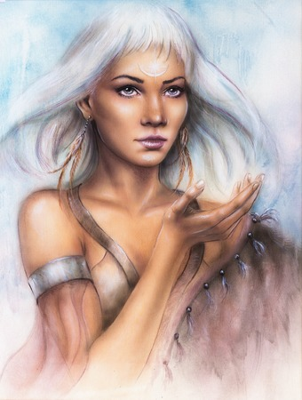A beautiful airbrush portrait of a young enchanting woman warrior with feathers white shiny hair and a palm stretched photo