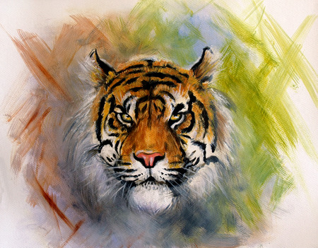 looking straight: beautiful airbrush painting of a mighty fierce tiger head on a soft toned abstract background
