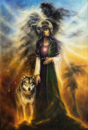 Un bel dipinto ad olio su tela di una sacerdotessa fata mistica con un lupo dalla sua bella pittura a olio su tela di Sidea una sacerdotessa fata mistica con un lupo al suo fianco, a camminare insieme attraverso universo Archivio Fotografico - 35819492