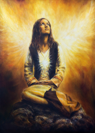awaking: A beautiful oil painting on canvas of a young woman in historical costume awaking to see a pair of radiant angel wings spreading behind her