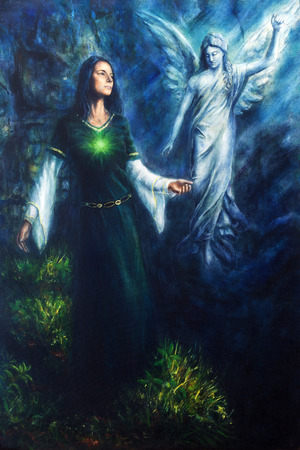 A beautiful oil painting on canvas of a mystical woman in historical dress having a visionary encounter with her guardian angel in a temple of nature