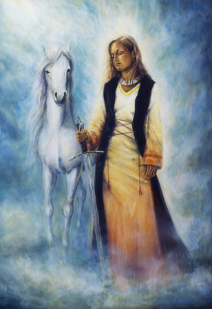 priestess: Beautiful oil painting on canvas of a mystical woman in historical dress holding a sword of silver, with a white horse as her protective companion at her side, on a misty grey sparkling background Stock Photo