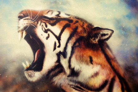 airbrush: A beautiful airbrush painting of a mighty roaring tiger emerging from an abstract cosmical background with starlights Stock Photo