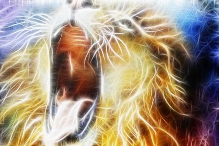 Lion fractal fond cosmique abstraite Banque d'images - 35819501