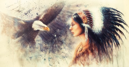 airbrush: beautiful airbrush painting of a young indian woman wearing a gorgeous feather headdress, with an image  eagle spirits