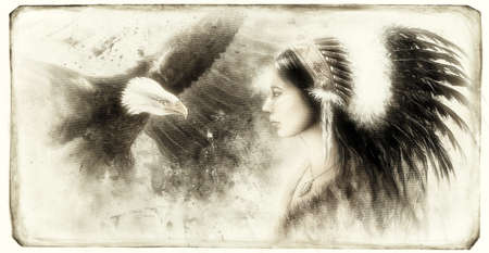 sioux: vintage painting of a young indian woman wearing a gorgeous feather headdress, with an image  eagle spirits