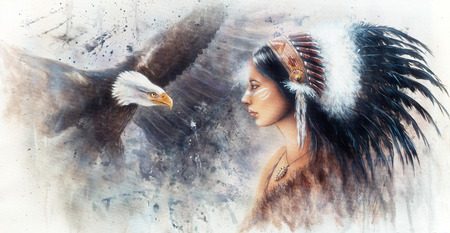 visionary: beautiful airbrush painting of a young indian woman wearing a gorgeous feather headdress, with an image  eagle spirits