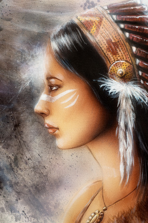 sioux: airbrush painting of a young indian woman tribal Stock Photo