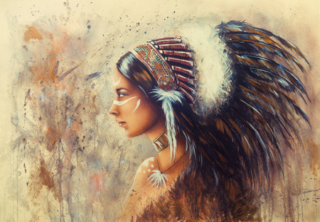 black american: beautiful airbrush painting of a young indian woman wearing a big feather headdress, a profile portrait on structured abstract background Stock Photo