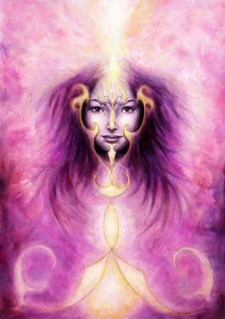beautiful painting of a violett angelic spirit with a woman?s face and golden ornaments, in clouds of purple energy and light photo