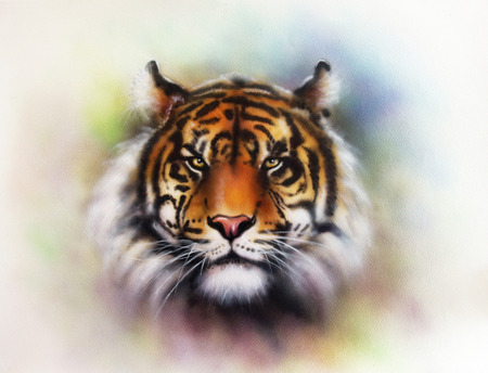 airbrush: beautiful airbrush painting of a mighty fierce tiger head on a soft toned abstract background
