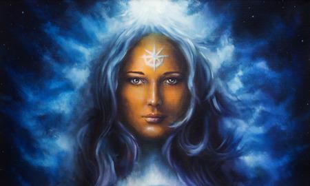 긴 파란 머리를 들고 유화 여자의 여신
