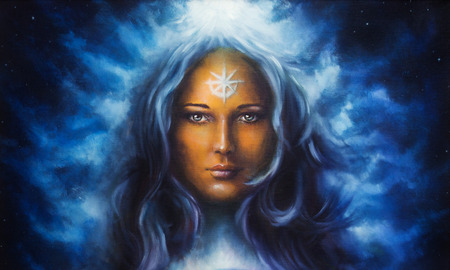 woman goddess with long blue hair holding oil painting