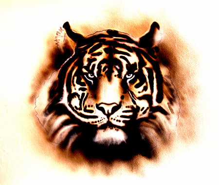 airbrush: A beautiful airbrush painting of a bright mighty tiger head on a soft toned abstract background Stock Photo
