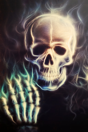 Skull   with hand airbrush painting fractal effect photo