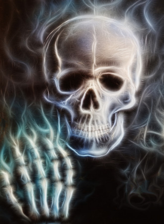 Skull  airbrush painting fractal effect photo