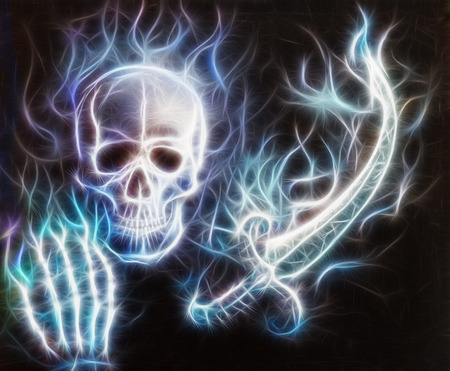 Skull with a hand, sword airbrush painting with bokeh and fractal photo
