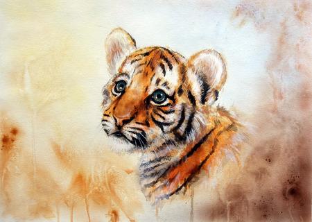tigre bebe: Una hermosa pintura del aer�grafo de una cabeza de tigre adorable beb� mirando hacia arriba, en el resumen de fondo borroso Foto de archivo