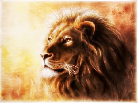 A beautiful airbrush painting of a lion head with a majesticaly peaceful expression Stockfoto