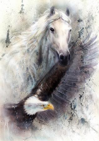 白い馬の抽象的な織り目加工の背景上の飛行のワシの美しい絵画