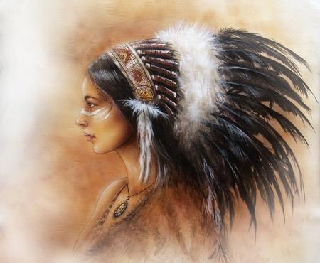 indios americanos: Mujer india joven que llevaba un gran tocado de plumas, un retrato de perfil en fondo resumen estructurado Foto de archivo