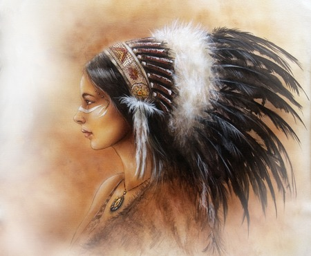 native american art: young indian woman wearing a big feather headdress, a profile portrait on structured abstract background