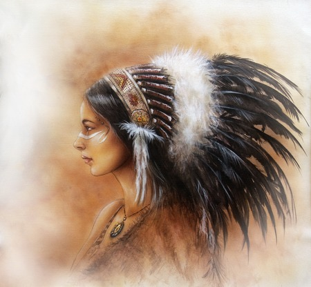 cherokee indian: young indian woman wearing a big feather headdress, a profile portrait on structured abstract background