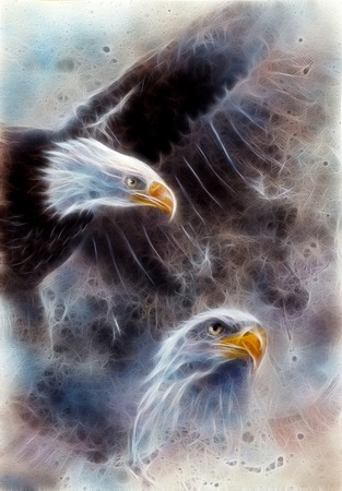 marvelous: beautiful airbrush painting of two eagles on an abstract background, one stretching his black wings to fly, on abstract background fractal efect Stock Photo