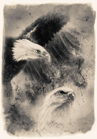 two eagles on an abstract background, one stretching his black wings to fly, on abstract background retro stile photo