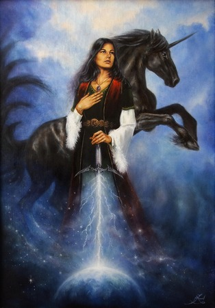 A beautiful oil painting on canvas of a young mystic woman in historic dress, holding her sword emanating a light ray tho the earth and acompanied by her mighty black unicorn Stockfoto