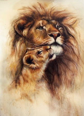 A beautiful airbrush painting of a loving lion  and her baby cub