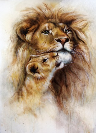 duo: A beautiful airbrush painting of a loving lion  and her baby cub