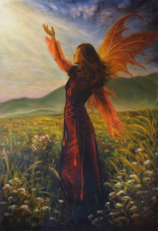 spirit medium: A beautiful painting oil on canvas of a fairy woman in a historic dress standing in rays of sunlight amids a wild meadow