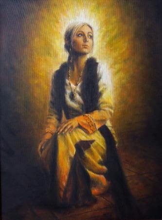 Een mooi olieverfschilderij van een jonge vrouw in historische kleding op doek, vol van innerlijk licht en straling Stockfoto